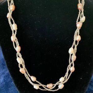 "Jewelry - 3Twisted Strands Of Pearls 18"" W/Magnetic Clasp"